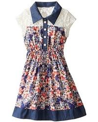 Bonnie Jean Little Girls Challis And Chambray Shirt Dress