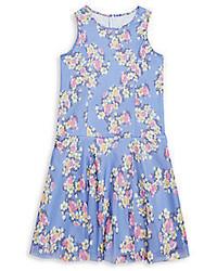 Girls Floral Print Fit  Flare Dress