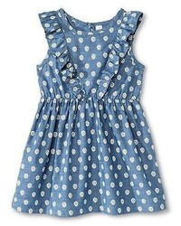 Cherokee Toddler Girls Floral Chambray Dress Blue