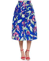 Blue Floral Full Skirt