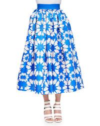 Alice + Olivia Molina Floral Print Tea Length Ball Skirt