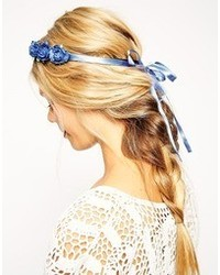 Midnight paper flower hair garland blue medium 88817