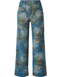 Kenzo Floral Print High Rise Straight Leg Jeans