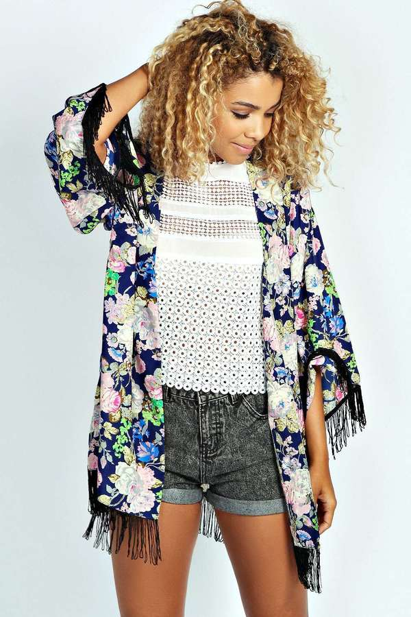 ac93ad6727d1f Boohoo Millie Floral Tassel Kimono | Where to buy & how to wear