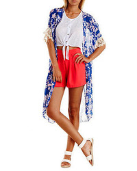 Charlotte Russe Handkerchief Hem Floral Kimono