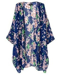 ChicNova Floral Print Loose Fit Half Sleeves Blue Kimono
