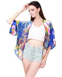 Choies Blue Floral Chiffon Kimono Coat