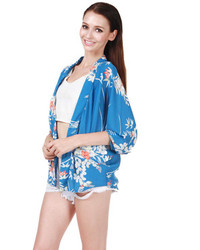 Choies blue floral sunscreen kimono coat medium 99402