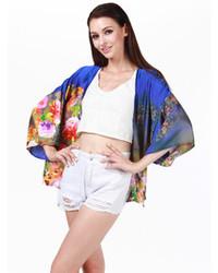 Choies Sapphire Floral Kimono Coat