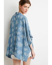 Forever 21 Contemporary Floral Print Chambray Kimono