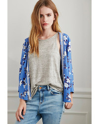 Forever 21 Embroidered Floral Print Kimono