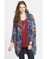 Hot & Delicious Floral Chiffon Kimono Jacket Royal Blue Large