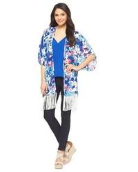 Leyden Fringe Kimono Shadow Floral Blue