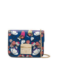 Blue Floral Leather Crossbody Bag