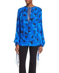Michael Kors Michl Kors Collection Silk Georgette Tie Neck Blouse Blackblue Poppy Floral