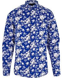 River Island Blue Vito Floral Print Long Sleeve Shirt