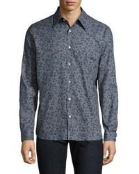 Burberry Connock Floral Print Cotton Popin Button Down Shirt