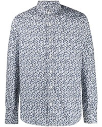 Canali Floral Print Cotton Shirt