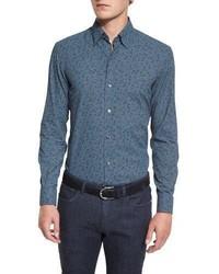 Ermenegildo Zegna Floral Print Long Sleeve Sport Shirt Blue Pattern