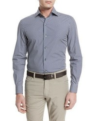 Ermenegildo Zegna Floral Print Long Sleeve Sport Shirt Navy