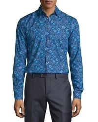 Eton Floral Print Sport Shirt Blue