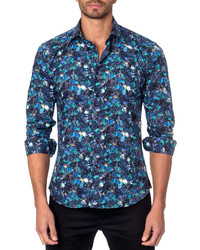 Floral print sport shirt blue medium 957303