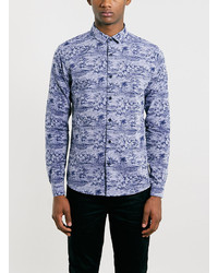 Topman Indigo Floral Print Long Sleeve Smart Shirt