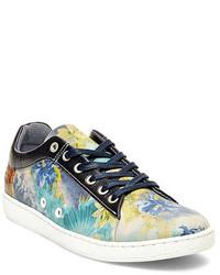 Blue Floral Low Top Sneakers