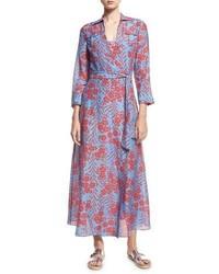 Diane von Furstenberg Floral Print Voile Maxi Wrap Dress