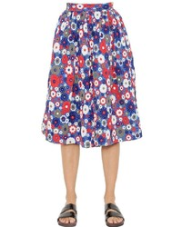 House of Holland Terri Floral Embossed Leather Midi Skirt