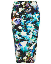 Topshop Bleach Out Floral Tube Skirt With An Elasticated Waist 96% Viscose 4% Elastane Machine Washable