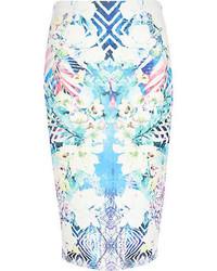 Blue floral geometric print tube skirt medium 72195