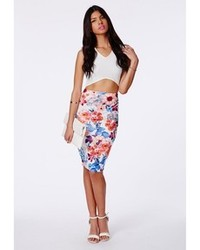 Missguided Keleta Textured Floral Midi Skirt