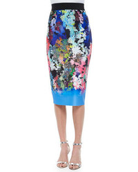Milly Ombre Floral Print Midi Pencil Skirt