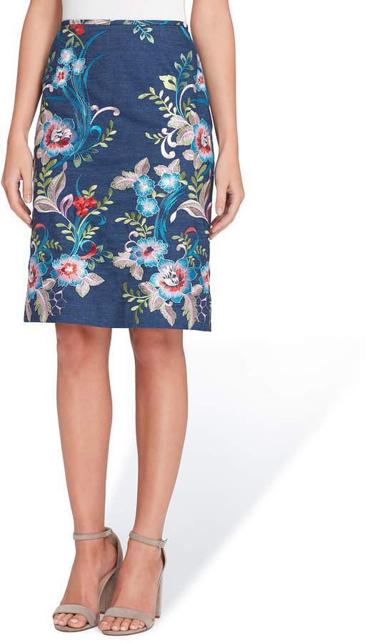 48603f950736 ... Tahari ASL Petite Size Floral Embroidered Chambray Denim Pencil Skirt