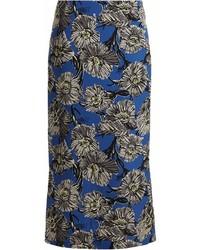 Ry giant floral print silk pencil skirt medium 7012462