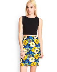 Forever 21 Watercolor Floral Pencil Skirt
