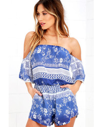 LuLu*s Dangerous Woman Blue Print Off The Shoulder Romper