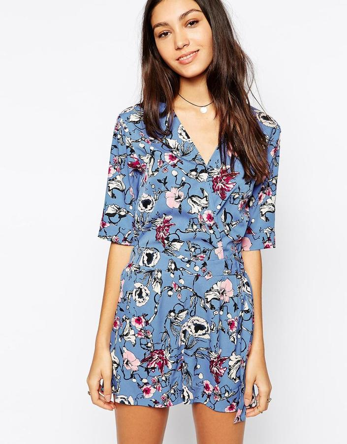 82f6cf0fe45 ... Asos › Blue Floral Playsuits Influence Long Sleeve Wrap Front Romper In Floral  Print ...