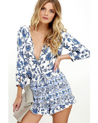 LuLu*s Personal Flair Ivory And Blue Floral Print Romper