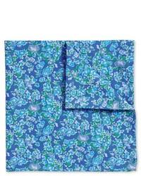 Charles Tyrwhitt Luxury Italian Blue Printed Floral Pocket Square
