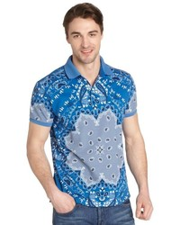 Etro Blue Paisley Print Cotton Pique Polo Shirt
