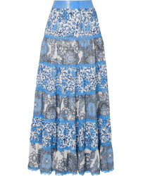 Alice + Olivia Satin And Med Floral Print Maxi Skirt