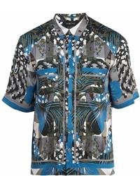G Geometric Print Short Sleeved Silk Pyjama Shirt