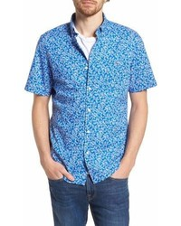 Vineyard Vines Linear Floral Slim Fit Print Short Sleeve Sport Shirt