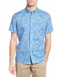 Nordstrom Shop Slim Fit Floral Print Linen Sport Shirt