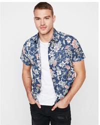 Express Slim Floral Cotton Short Sleeve Shirt