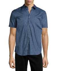 Star usa floral print short sleeve woven shirt blue medium 790350