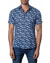 Jared Lang Trim Fit Floral Print Sport Shirt