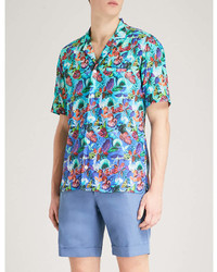 Eton Tropical Floral Print Slim Fit Cotton Shirt